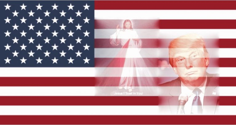 Flag of the USA and Jesus, Divine Mercy with Donald Trump