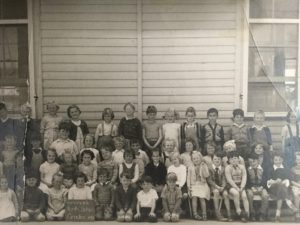 School photo - Grade 1, at Renmark North, in 1956. William is in the front row second from the right. He is six years old.