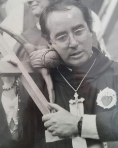 William Costellia carrying the Cross on the Holy Grounds in 1987